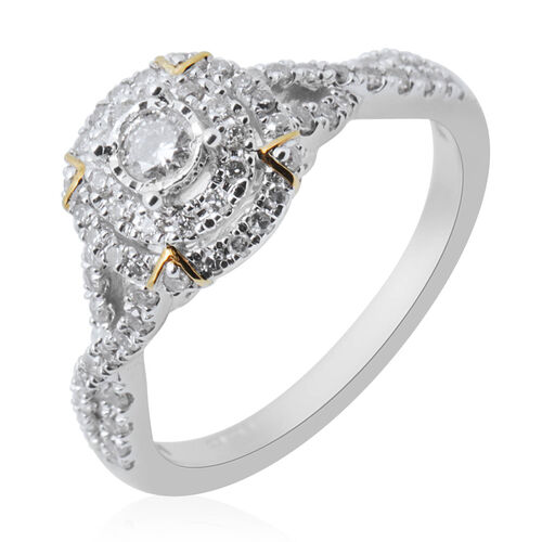 NY Close Out 14K White Gold Diamond (I1-I2/H) Cluster Ring 0.50 Ct.