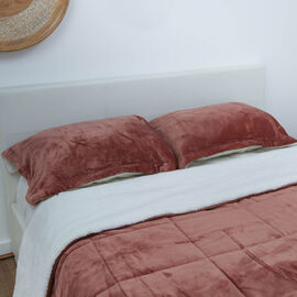 3 Piece Set - Super Soft and Plush King Size Flannel Sherpa Comforter (Size 220x225 Cm) and 2 Pillow
