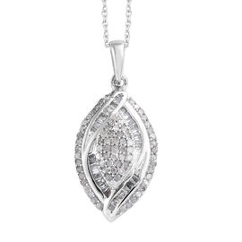 Designer Inspired- Diamond (Rnd) Pendant With Chain (Size 20) in Platinum Overlay Sterling Silver 0.