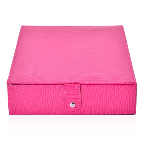 Fuchsia Lizard Skin Pattern Embossed (80-100 Slot) Ring Box (Size 28X22X6 Cm)