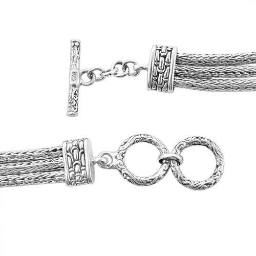 Royal Bali Collection - Sterling Silver Dragonfly 3-Row Necklace (Size 21), Silver wt 69.65 Gms.