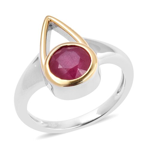 1.94 Ct LucyQ Open Drip African Ruby Solitaire Ring in Rhodium and Gold Plated Silver