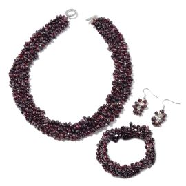 3 Piece Set - Mozambique Garnet Necklace (Size 18), Stretchable Bracelet (Size 7) and Hook Earrings