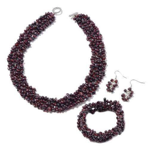 3 Piece Set - Mozambique Garnet Necklace (Size 18), Stretchable Bracelet (Size 7) and Hook Earrings