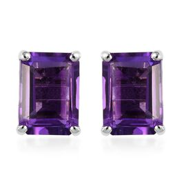 Amethyst (Oct) Stud Earrings (with Push Back) in Platinum Overlay Sterling Silver 2.00 Ct.