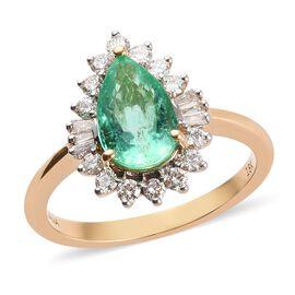 ILIANA 2.31 Ct AAA Boyaca Colombian Emerald and Diamond Halo Ring in 18K Gold SI GH