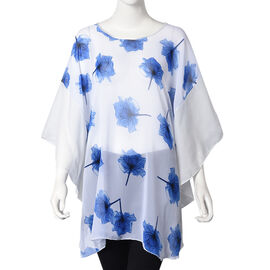 White and Blue Colour Maple Leaf Pattern Poncho (One Size Fits All; 65x75 Cm)