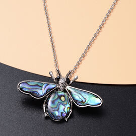 Abalone Shell, Black Austrian Crystal Bee Pendant with Chain (Size 20 with 2 inch Extender) in Silver Tone