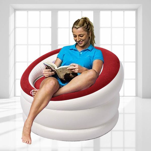 Deluxe Inflatable Armchair with Backrest (Size: 85x82x60cm) - Red and White