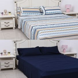 8 Piece Set  - 2xFitted Sheet, 2xFlat Sheet and 4xPillow Case (Double Size) - Navy Blue and Multicol