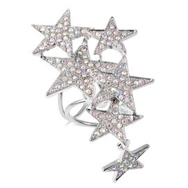 Simulated Mystic White Crystal (Rnd) Star Clasp in Silver Tone