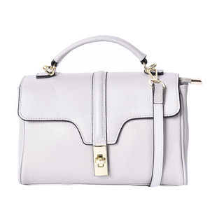 Sencillez 100% Genuine Leather Convertible Bag with Flap Lock in Grey