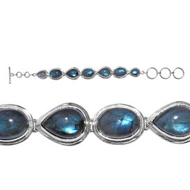 Artisan Crafted Labradorite Bracelet (Size 7 with Extender) in Sterling Silver   40.540 Ct, Silver w
