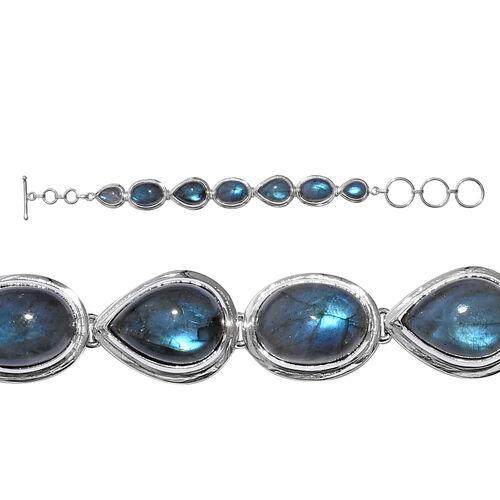 40.54 Ct Labradorite Moon Drops Weaved Bracelet in Sterling Silver 12.59 Grams