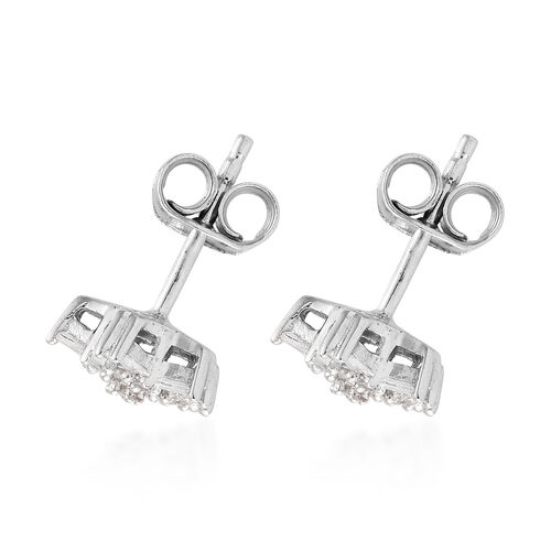 Diamond (Bgt) Star Earrings in Platinum Overlay Sterling Silver 0.332 Ct.