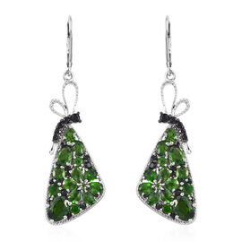 GP Russian Diopside (Pear and Ovl), Boi Ploi Black Spinel and Kanchanaburi Blue Sapphire Lever Back Earrings in Platinum Overlay Sterling Silver 7.250 Ct, Silver wt 8.00 Gms.
