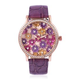 STRADA Japanese Movement Multi Colour Enameled Flower Dial Water Resistant Watch with White Austrian Crystal in Rose Gold Tone with Purple Colour Strap