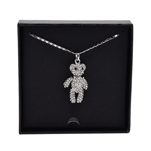 THOMAS CALVI White and Black Austrian Crystal Teddy Bear Pendant With Chain (Size 18 with 2 inch Extender) in Silver Tone