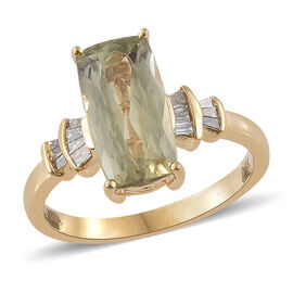 Collectors Edition- ILIANA 18K Yellow Gold AAA Turkizite (Cush) and Diamond (SI/G-H) Ring 2.850 Ct.