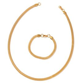 ION Plated Yellow Gold Stainless Steel Hollow Necklace (Size 20) and Bracelet (Size 7.50)