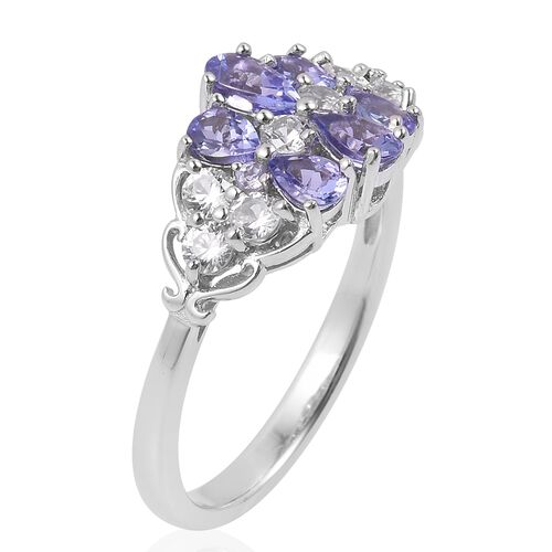 Tanzanite (Pear), Natural White Cambodian Zircon Ring in Rhodium Plated Sterling Silver 1.720 Ct.