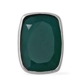 11 Ct Green Onyx Solitaire Pendant in Rhodium Plated Sterling Silver