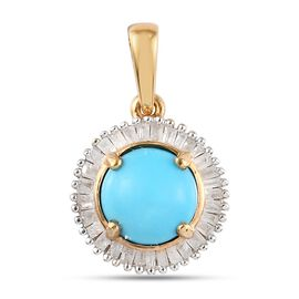 Arizona Sleeping Beauty Turquoise and White Diamond Halo Pendant in 14K Gold Overlay Sterling Silver