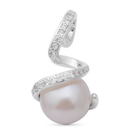 White Freshwater Pearl and Simulated Diamond Pendant in Rhodium Overlay Sterling Silver 5.87 Ct