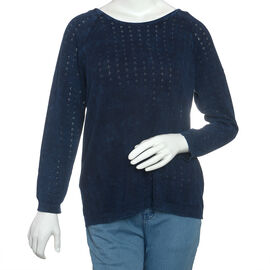 Close Out Deal 100% Cotton Navy Colour Knitted Top M
