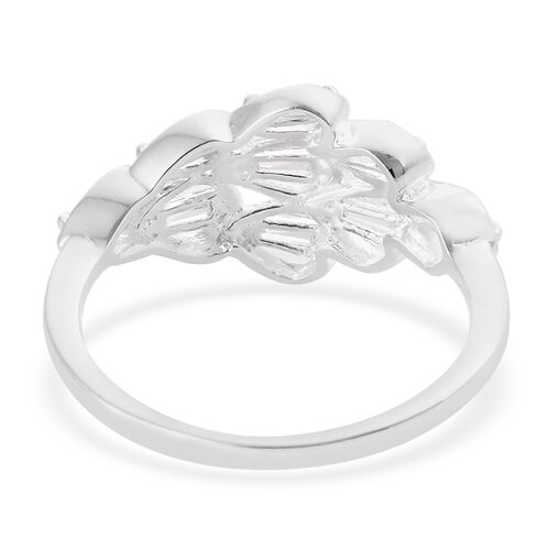 J Francis - Sterling Silver (Bgt) Feather Ring Made with SWAROVSKI ZIRCONIA