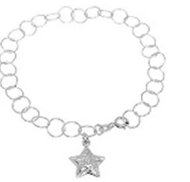 New York Close Out Sterling Silver Round Link Bracelet (Upto Size 8) with Star Charm in Rhodium Over