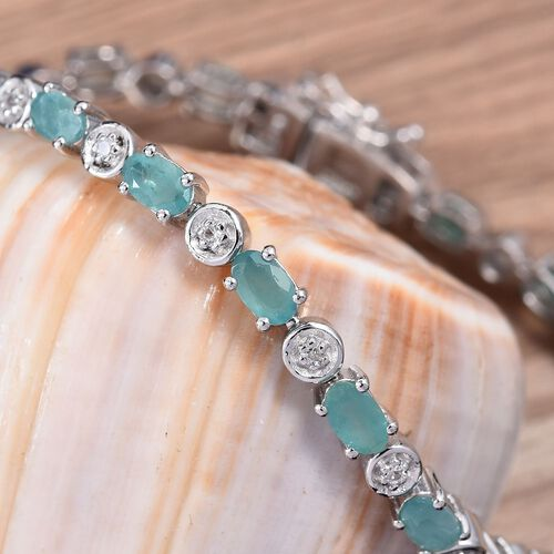 Grandidierite (Ovl), Natural Cambodian Zircon Bracelet (Size 7) in Platinum Overlay Sterling Silver 5.50 Ct., Silver wt 8.91 Gms