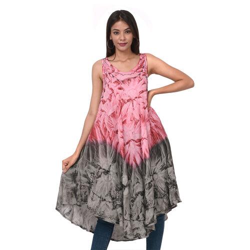 Summer Special- Embroidered Tie-Dye Round Neck Umbrella Dress (One Size; L-121cm x W-111cm) - Fuchsi