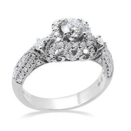 Manhattan Close Out-14K White Gold Diamond (I2-/G-H) Ring 1.00 Ct, Centre Dia (Round 0.50cts)