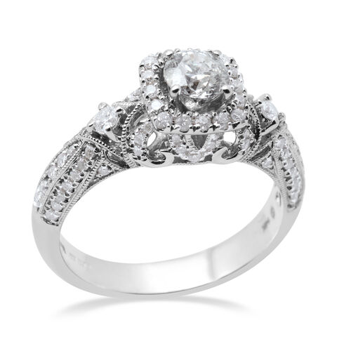 Manhattan Close Out 1 Carat Diamond Cluster Ring in 14K White Gold I2 GH