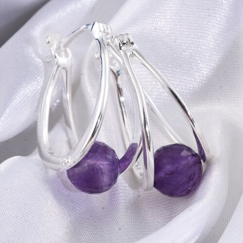 Designer Inspired- Super Bargain Price- Amethyst Hoop Earrings (with Clasp Lock) in Sterling Silver 8.000 Ct. Sterling Silver Weight 4.00 Grams