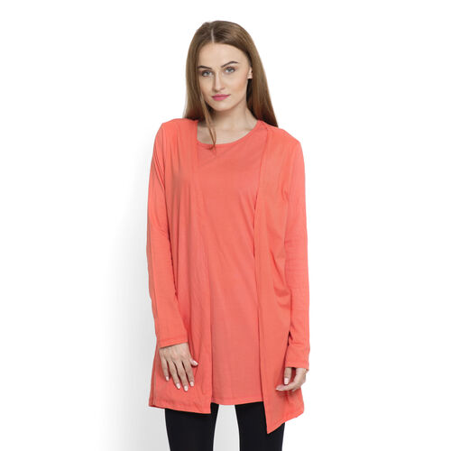 One Time Close Out Deal-Set of 2 -  100% Cotton Dark Coral Colour Long Sleeve Tank Top (Size Small /