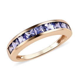 1.25 Ct Tanzanite Half Eternity Band Ring in 9K Yellow Gold