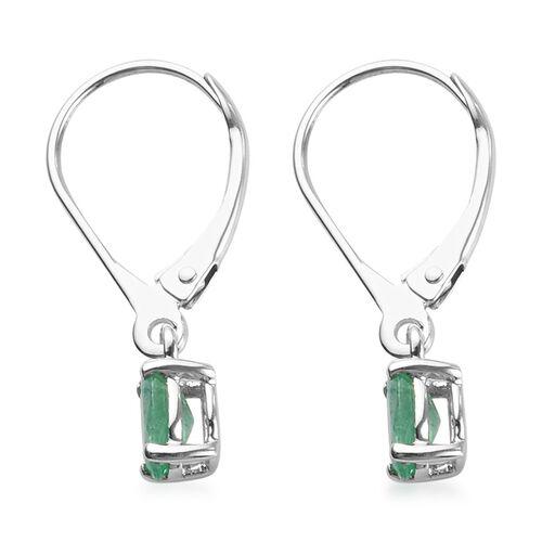 9K White Gold AA Boyaca Colombian Emerald Lever Back Earrings 0.75 Ct.