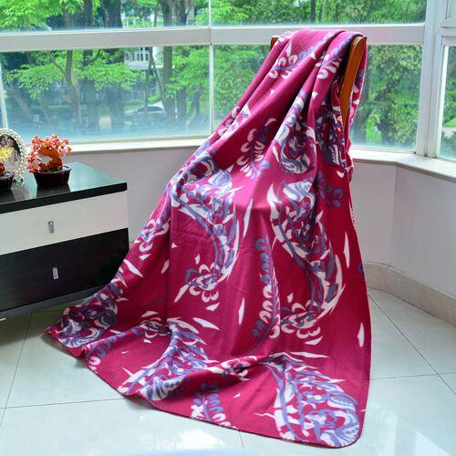 Super Bargain Price-Supersoft Fleece Blanket Allover Print Pink, White and Purple Colour (150x210 cm)