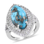 Persian Turquoise (Mrq 18x9 mm), Natural Cambodian Zircon Ring (Size O) in Platinum Overlay Sterling Silver 7