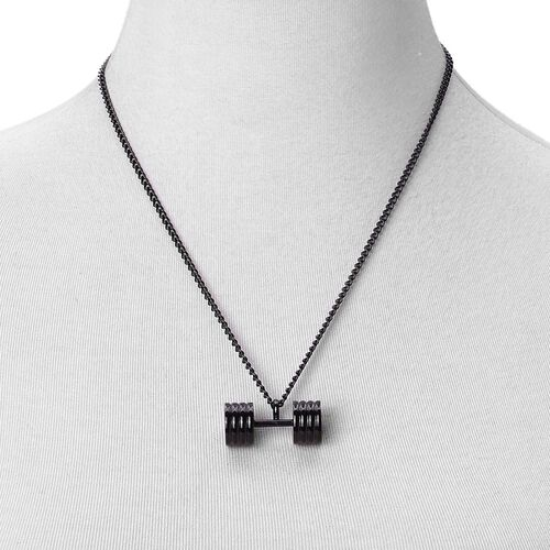 Dumbbell Shape Pendant With Chain (Size 20) in ION Plated Black Stainless Steel
