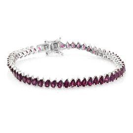 Rhodolite Garnet (Pear) Bracelet (Size 7.5) in Platinum Overlay Sterling Silver 14.000 Ct. Silver wt. 10.00 Gms.