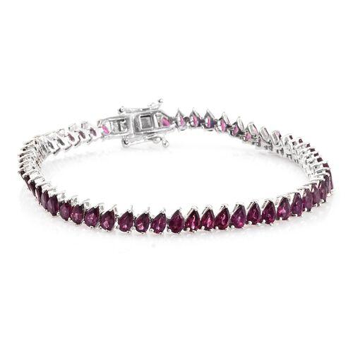 Rhodolite Garnet (Pear) Bracelet (Size 7.5) in Platinum Overlay Sterling Silver 14.000 Ct. Silver wt