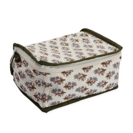 Cotton Traditional Print Quilted Makeup Bag (Size 15x7x14 Cm) -  Black and White