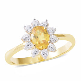 Limited Edition- 9K Yellow Gold AA Chanthaburi Yellow Sapphire (Ovl), Natural White Cambodian White Zircon Cluster Ring 2.000 Ct