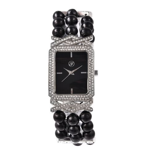 GENOA Japanese Movement Crystal Studded Water Resistant Bracelet Watch with Shungite Beads Stretchab