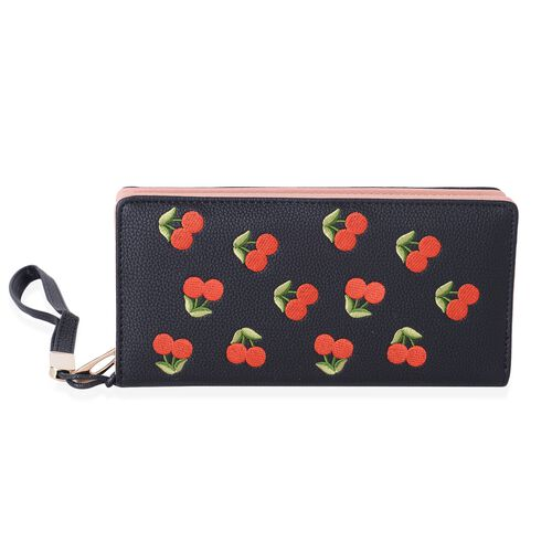 Black, Red and Green Colour Cherry Pattern Ladies Wallet (Size 19x9x3 Cm)