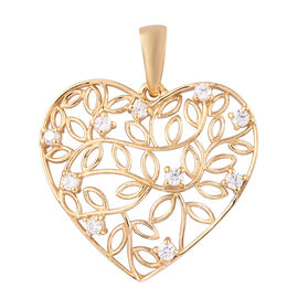 J Francis 14K Gold Overlay Sterling Silver (Rnd) Heart Pendant Made with Swarovski Zirconia