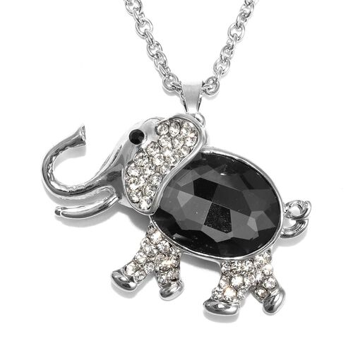 Simulated Grey Spinel, Black and White Austrian Crystal Elephant Pendant with Chain (Size 29 with 2.